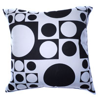 EA01 - Cotton Blend Linen Sofa Pillow Cases /Cushion Covers (Black and White Circle Dot Square Polka)