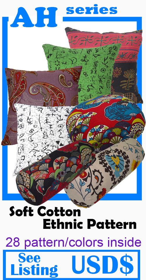 """*2 pieces 8"""" x 21"""" sheet cotton fabric Bolster Cover* Dark Gray bed35g"""